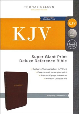 KJV Deluxe Reference Bible Super Giant Print, Burgundy, Indexed  -