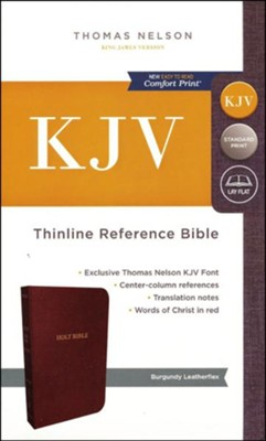 KJV Thinline Reference Bible, Leather-Look, Burgundy   -