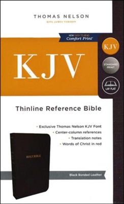 KJV Thinline Reference Bible, Bonded Leather, Black Indexed  -