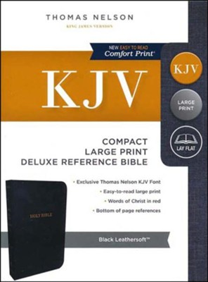 KJV Deluxe Compact Reference Bible, Large Print,  Leather-Look, Black  -