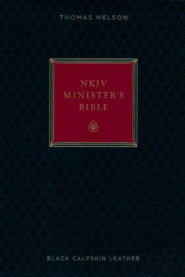 NKJV Minister's Bible--genuine leather, black (red letter edition)  -