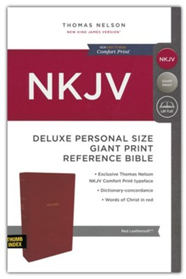 NKJV Comfort Print Deluxe Reference Bible, Personal Size Giant Print, Imitation Leather, Red, Indexed  -