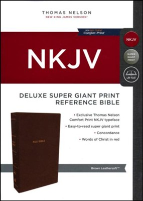 NKJV Comfort Print Deluxe Reference Bible, Super Giant Print, Imitation Leather, Brown  -