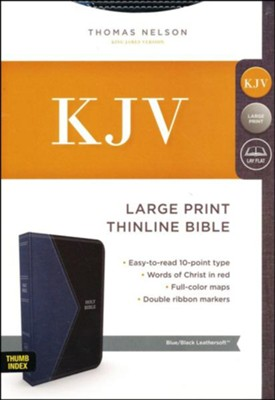 KJV Comfort Series Thinline Bible Large Print Leather Look Black and Blue, Indexed  -
