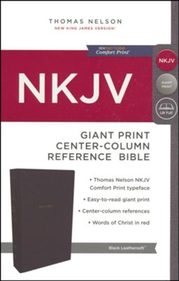 NKJV Comfort Print Reference Bible, Center Column, Giant Print, Imitation Leather, Black  -