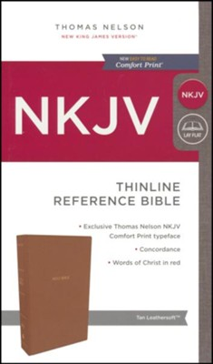 NKJV Comfort Print Thinline Reference Bible, Imitation Leather, Tan  -