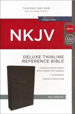 NKJV Comfort Print Deluxe Thinline Reference Bible, Imitation Leather, Black  -