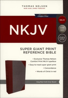 NKJV Comfort Print Reference Bible, Super Giant Print, Cloth over Board, Gray and Red  -