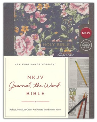 NKJV Comfort Print Journal the Word Bible, Cloth over Board, Gray Floral  -
