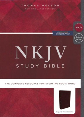 NKJV Comfort Print Study Bible, Premium Bonded Leather, Burgundy  -