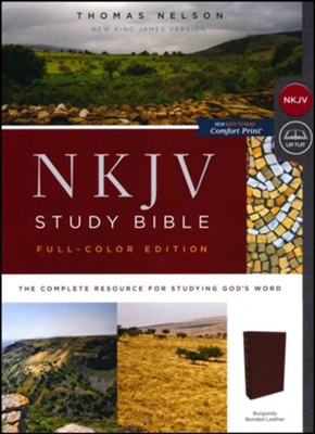 NKJV Comfort Print Full Color Study Bible, Bonded Leather, Burgundy  -
