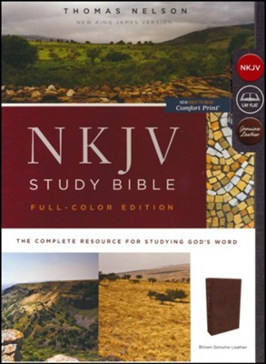 NKJV Comfort Print Full Color Study Bible, Premium Calfskin Leather, Brown - Imperfectly Imprinted Bibles  -