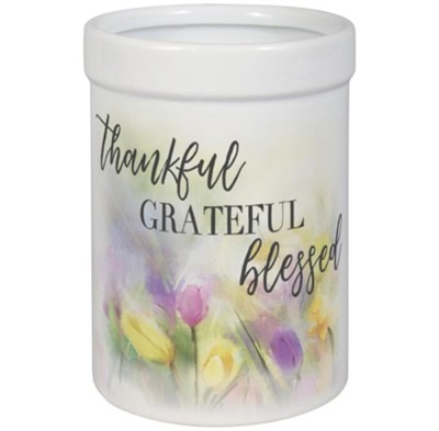Thankful Grateful Blessed Utensil Crock  -
