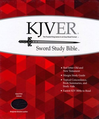 KJVer (Easy Reader) Giant Print Sword Study Bible, Genuine Leather Burgundy, Thumb Indexed  -