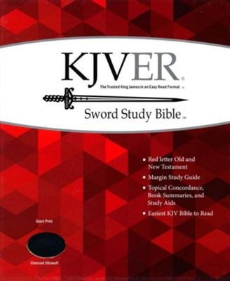 KJVer (Easy Reader) Giant Print Sword Study Bible, Ultrasoft Charcoal Grey  -