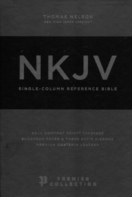 NKJV Comfort Print Single-Column Reference Bible--premium goatskin, brown (Premier Collection)  -