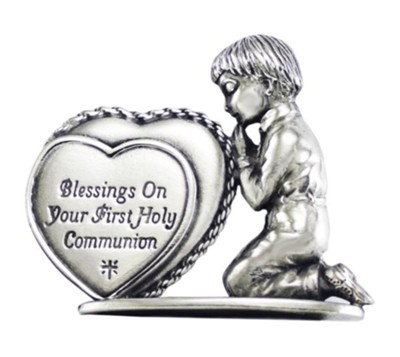 Blessings On Your First Holy Communion, Praying Boy with Heart, Figurine  -