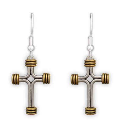 Two Tone Cross, with Bound Ends Earrings  -