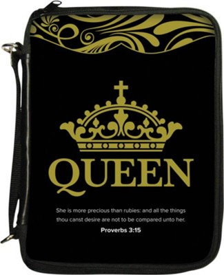 Queen Bible Cover, Black  -