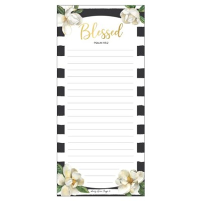 Blessed, Magnolia, Magnetic Notepad  -     By: Sandy Clough