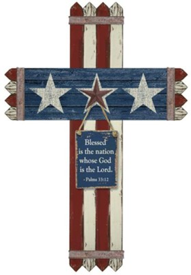 Blessed Is the Nation Picket Fence Cross  -