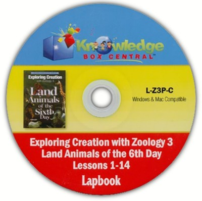 Apologia Exploring Creation with Zoology 3: Land Animals  of the 6th Day Lapbook Package (Lessons 1-14) PDF CD-ROM   -