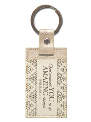 Ephesians 2:10 Keychain, Cream and Gold    -