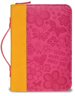 Bloom Bible Cover, Orange and Pink, Large  -