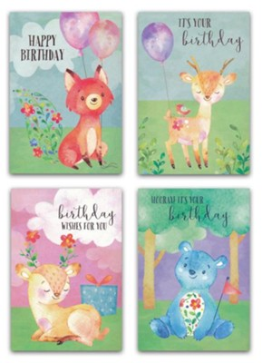 Cute Critters, Birthday Cards For Kids, Box of 12  -