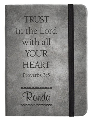 Personalized, Leather Notebook, Trust In The Lord, Small, Grey  -