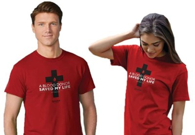 Blood Donor Shirt, Red, 4X, Unisex   -
