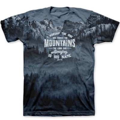 I Worship the One Who Formed the Mountains Shirt, Gray, Small , Unisex  -
