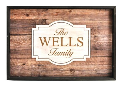 Personalized, Tray with Rustic Wood Look, Family   -