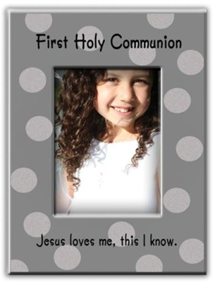 First Holy Communion, Jesus Loves Me, Photo Frame, Silver Polka Dots  -