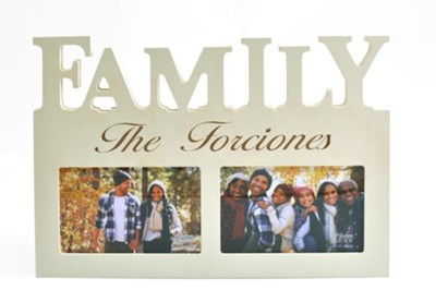 Personalized, Photo Frame, 4x6, Family, Last Name,White   -