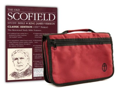 KJV Old Scofield Study Bible, Classic Edition--bonded leather, burgundy with Bible Cover  -