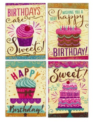 Happy Birthday, Cakes and Cupcakes, Cards, Box of 12  -