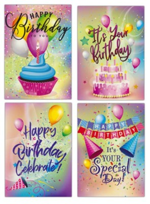 Happy Birthday, Party Colors, Cards, Box of 12  -