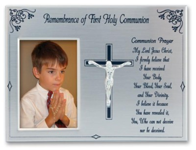 Remembrance of First Holy Communion Steel Satin Photo Frame, Silver  -