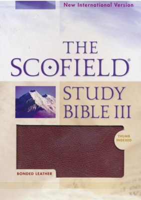NIV Scofield Study Bible III, Burgundy Bonded Leather, Thumb Indexed 1984  -