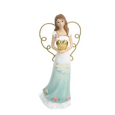 Mom You Are So Loved Angel Holding a Heart Figurine  -     By: Heartful Love