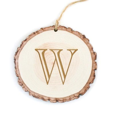 Personalized, Barky Ornament, with Monogram, White Wood   -