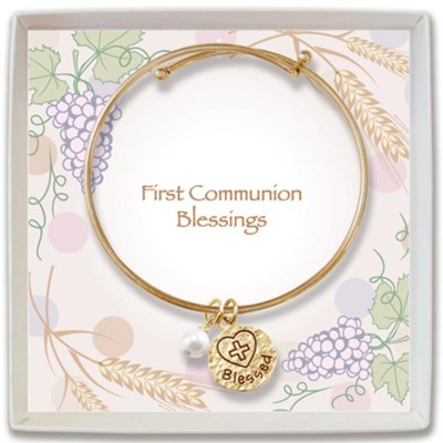 Adjustable Bangle Bracelet with Blessed Charm and Pearl, Gold  -