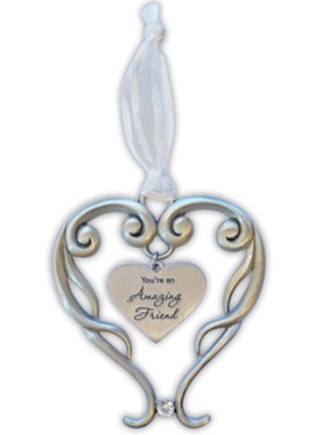 You're An Amazing Friend Heart Ornament with Crystal Accent  -