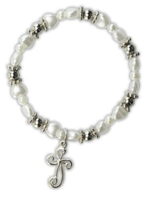 White Pearl Heart Bracelet with Cross Charm  -