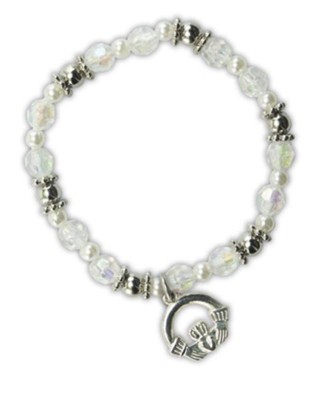 Crystal Bead Bracelet with Claddagh Charm  -