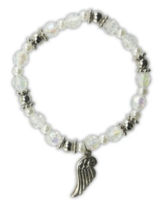Crystal Bead Bracelet with Angel Wing Charm  -
