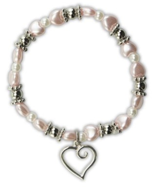 Pink Pearl Heart Bracelet with Heart Charm  -