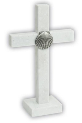 Baptism Standing Cross with Shell Motif  -