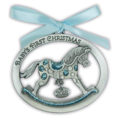 2018 Baby's First Christmas Ornament, Rocking Horse, Blue  -